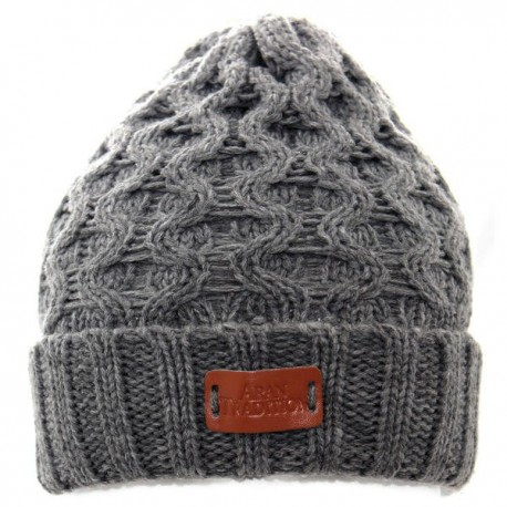 Aran Traditions Cable Knit Beanie - Grey