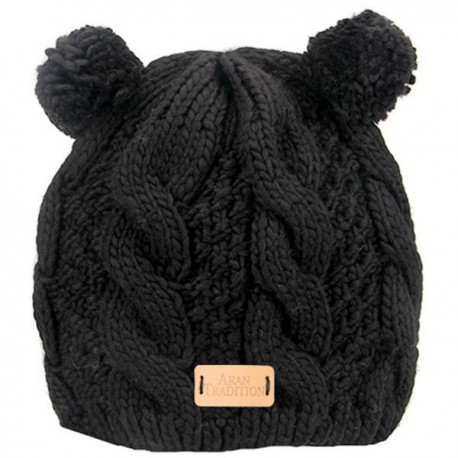 Aran Traditions Double Pom Cable Knit Hat - Black