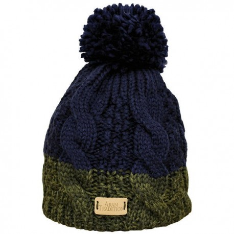Aran Traditions Two Tone Cable Knit Hat - Green
