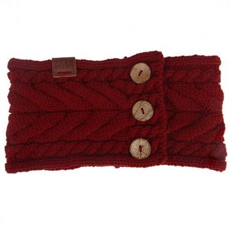 Aran Workshop Button Knit Headband - Oxblood