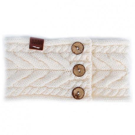 Aran Workshop Button Knit Headband - Cream