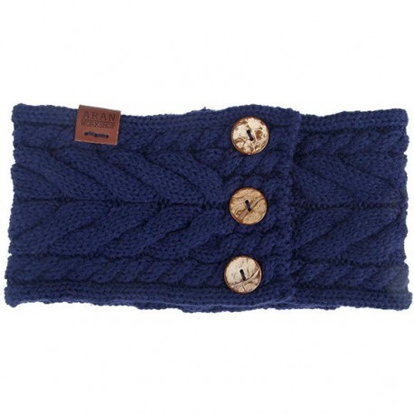 Aran Workshop Button Knit Headband - Navy