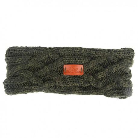 Aran Traditions Junior Cable Knit Headband - Green