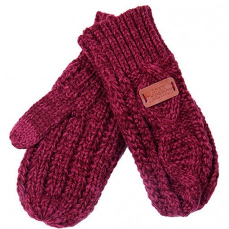 Aran Traditions Cable Knit Mittens - Raspberry