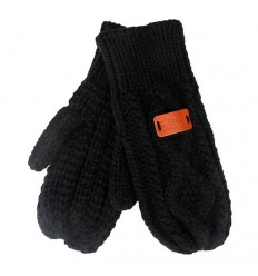 Aran Traditions Cable Knit Mittens - Black