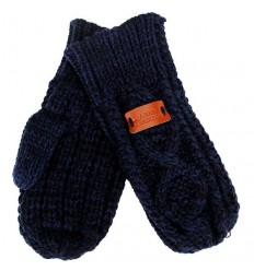 Aran Traditions Cable Knit Mittens - Navy