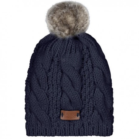 Aran Traditions Pom Pom Cable Knit Hat - Navy