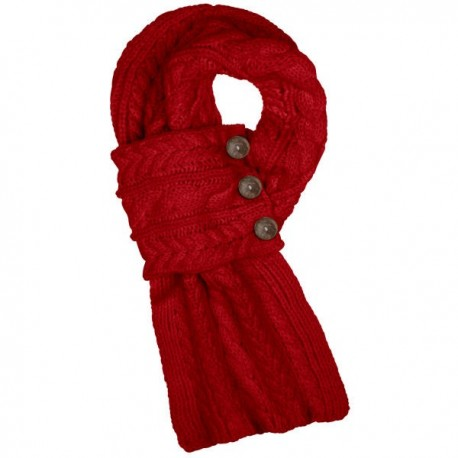Aran Traditions Cable Knit Button Scarf - Red