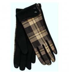 Heritage Traditions Ladies Checked Cuff Gloves - Brown