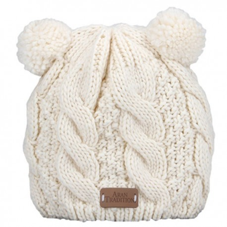 Aran Traditions Double Pom Cable Knit Hat - Cream