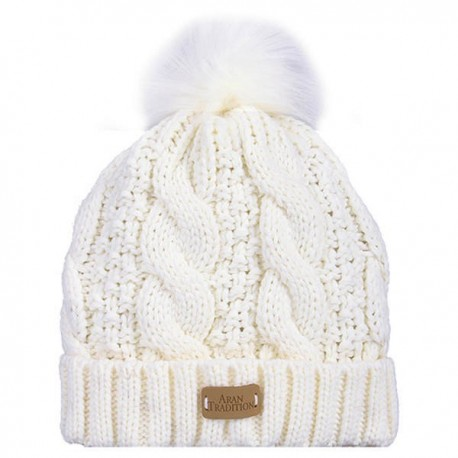 Aran Traditions Faux Fur Pom Cable Knit Hat - Cream