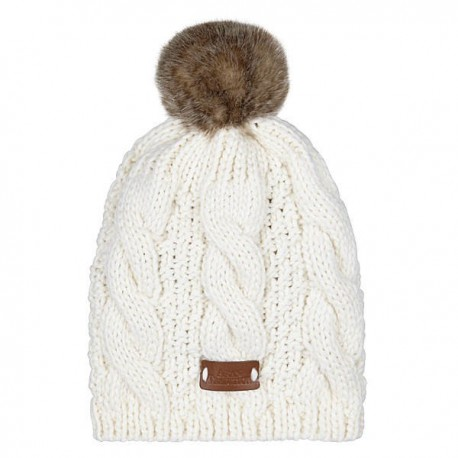 Aran Traditions Pom Pom Cable Knit Hat - Cream