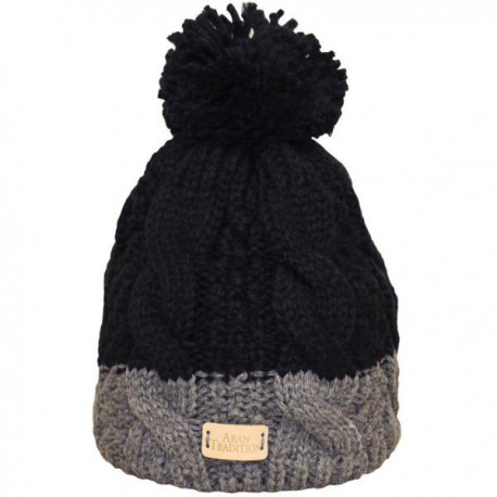 Aran Traditions Two Tone Cable Knit Hat - BLK/GRY