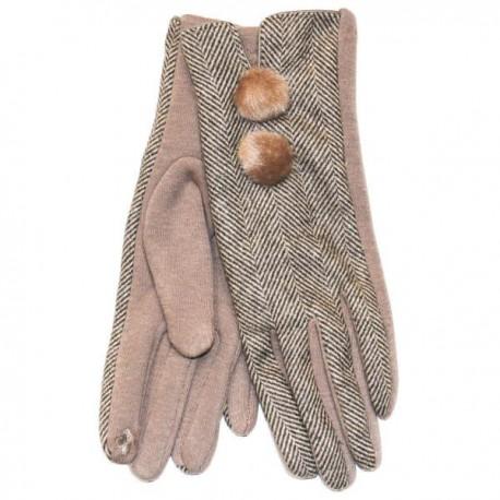 Heritage Traditions Ladies Herringbone Pom Pom Gloves - Camel