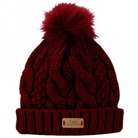 Aran Traditions Faux Fur Pom Cable Knit Hat - Oxblood