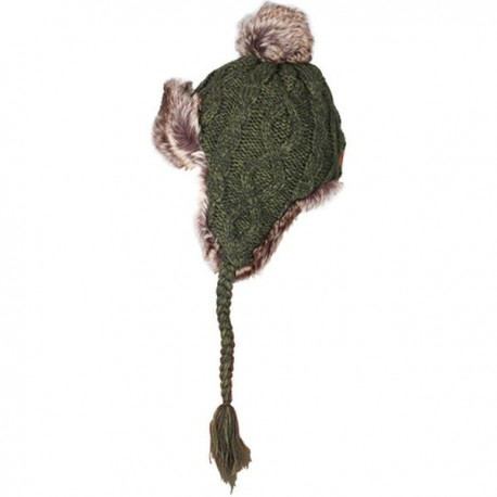 Aran Traditions Cable Knit Trapper Hat - Green