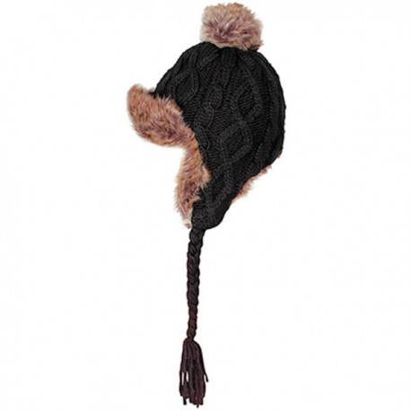Aran Traditions Cable Knit Trapper Hat - Black