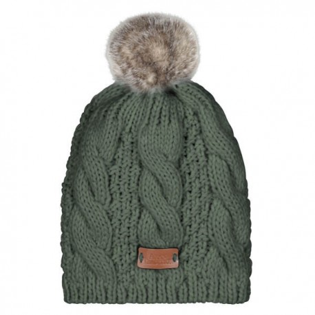 Aran Traditions Pom Pom Cable Knit Hat - Green