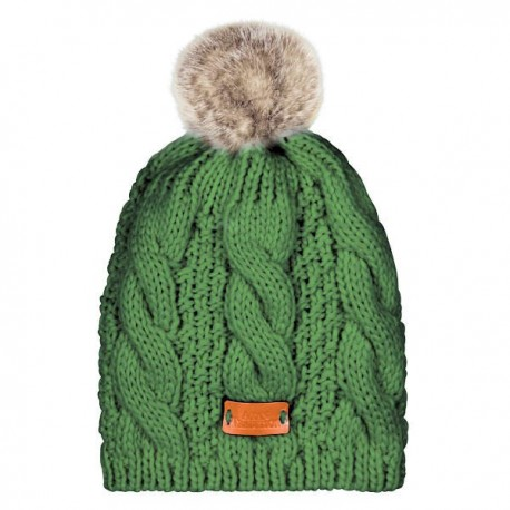 Aran Traditions Pom Pom Cable Knit Hat - Emerald