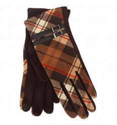 Tartan Traditions Ladies Fleece Gloves - Brown Tartan