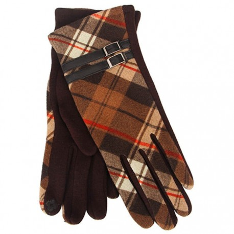 Tartan Traditions Ladies Fleece Gloves - Brown Tartan