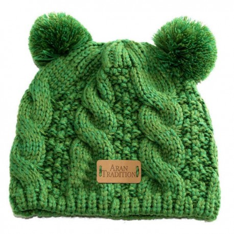 Aran Traditions Cable Knit Beanie - Emerald