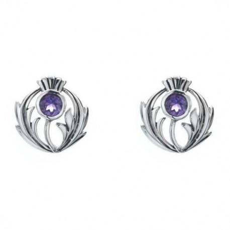 Sea Gems Thistle Amethyst & Silver Stud Earrings
