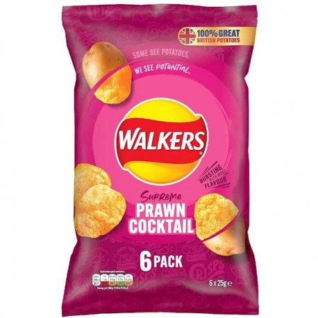 Walkers Prawn Cocktail Crisps 6 Pack
