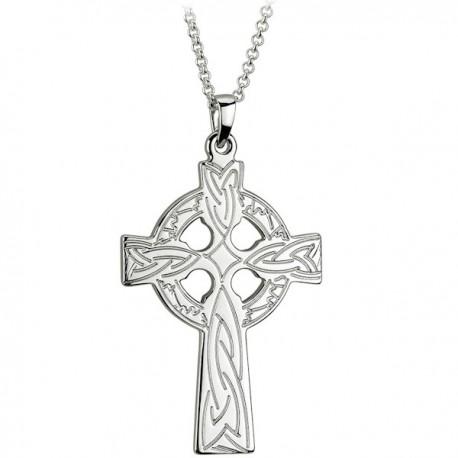 Solvar Engraved Silver Celtic Cross Pendant