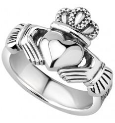 Solvar Mens Heavy Silver Claddagh Ring