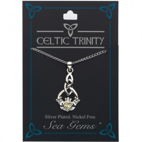 Sea Gems Plated Faux Gem Claddagh Pendant