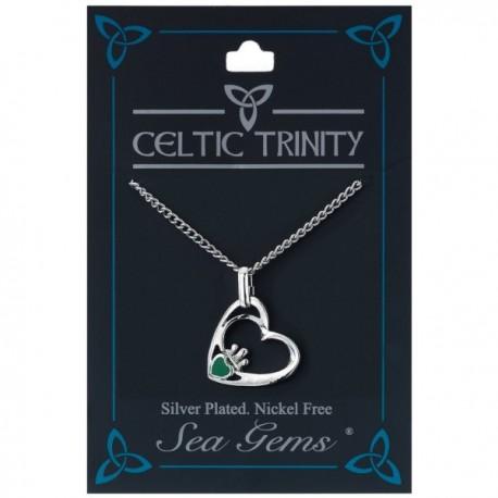 Sea Gems Plated Claddagh Heart Pendant